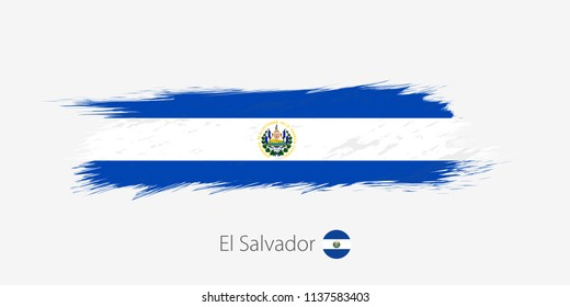 Flag of El Salvador, grunge abstract brush stroke on gray background. Vector illustration.
