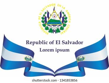 Flag of El Salvador, Republic of El Salvador. Template for award design, an official document with the flag of El Salvador. Bright, colorful vector illustration.