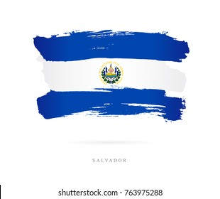 The flag of El Salvador. Vector illustration on white background. Beautiful brush strokes. Abstract concept. Elements for design.