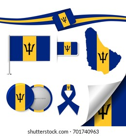 Flag with elements Barbados