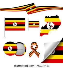 Flag with elements Uganda