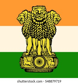 The flag and the emblem of India