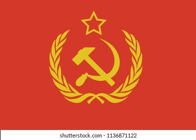 flag with the emblem of the Soviet Union
