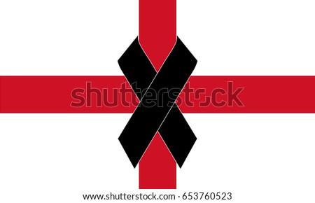 Flag England Black Ribbon Icon Pray Stock Vektorgrafik Lizenzfrei