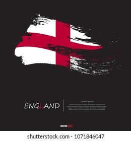 Flag of England with grunge style,brush stroke background