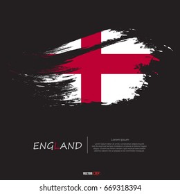 Flag of England with grunge style,brush stroke background