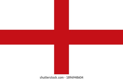 Flag of England standard proportion in color mode RGB. The Flag of England with a white background and red cross. vector illustration