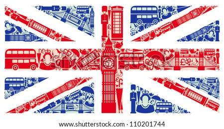 flag england symbols united kingdom london stock vector royalty
