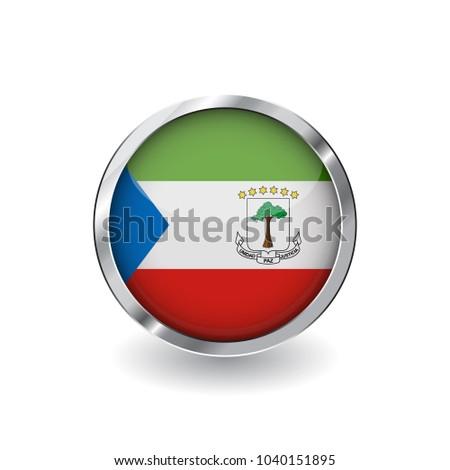 Flag Equatorial Guinea Button Metal Frame Stock Vector (Royalty Free ...