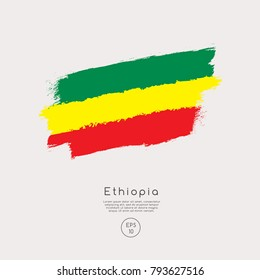 Flag of Ethiopia in Grunge Brush Stroke : Vector Illustration