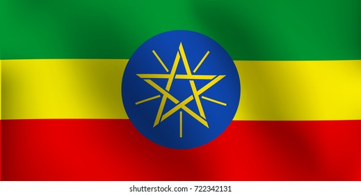 Flag of Ethiopia with a little Waving, Shading & Flag Colors separated layers - Vector Illustration