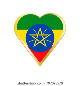 Flag of Ethiopia in the shape of Heart, symbol of Love Gold version.
