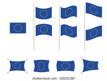 Flag of EU  in different shapes