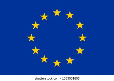Flag of Europe with 12 golden stars on blue background.