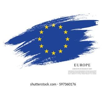 Flag of Europe, brush stroke background