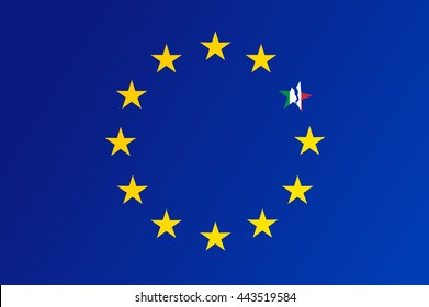 Flag of European Union with a broken star of Italy - vector