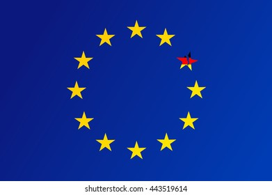 Flag of European Union with a broken star of Germany - vector