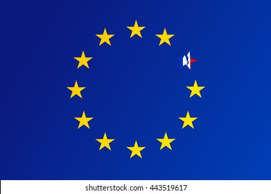 Flag of European Union with a broken star of France - vector