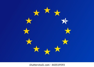 Flag of European Union with a broken white star - vector.