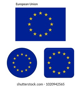 Flag of European Union. Correct proportions, elements, colors. Set of icons, square, button. Vector illustration on white background.