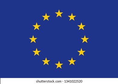 Flag of European Union. Flag of EU. United Europe. Official colors and proportions. Vector illustration.