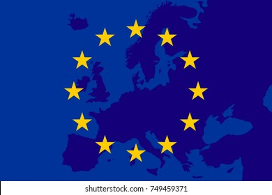 flag of European Union and map of Europe background. Eu sing. Vector illustration