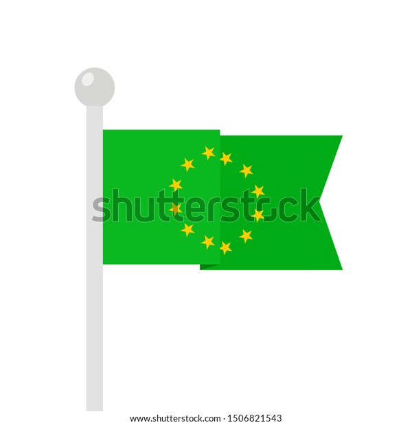 Flag of European union on green field as metaphor of European Green deal - environmental and ecological policy of climate neutrality. Vector illustration