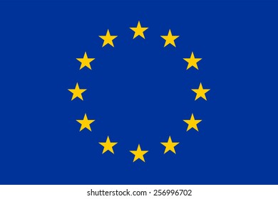 Flag of the European Union. Right sizes, color and proportion. True vector symbol of a united Europe.  Twelve yellow stars in a circle on a blue background.