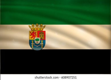 flag of Extremadura, autonomous communities of the Spain, on wavy silk background with bokeh lights. Realistic vector illustration