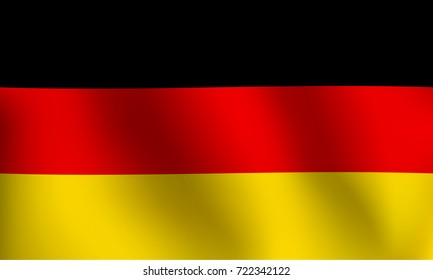 Flag of Federal Republic of Germany with a little Waving, Shading & Flag Colors separated layers - Vector Illustration