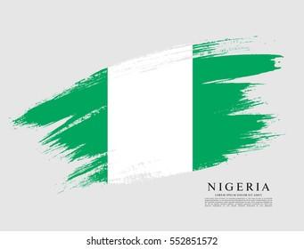 Flag of Federal Republic of Nigeria, brush stroke background