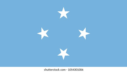 Flag of Federated States of Micronesia official colors and proportions, vector image.