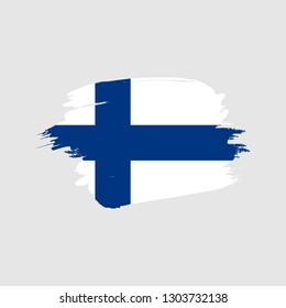 Flag of Finland with brush effect Vector Illustration