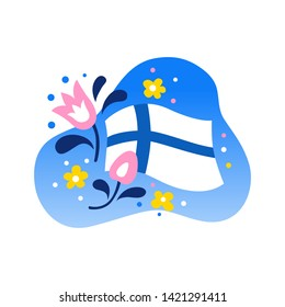 Flag of Finland with flowers on white background. Vector illustration EPS 10.