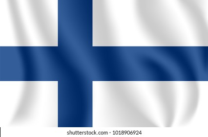 Flag of Finland. Realistic waving flag of Republic of Finland. Fabric textured flowing flag of Finland.