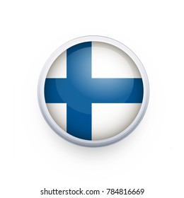 Flag of Finland as round glossy icon. Button with Finland flag. National flag for country of Finland isolated, banner vector illustration. Vector illustration eps10.