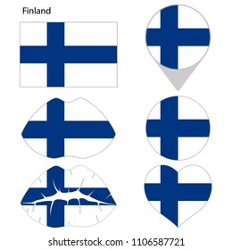 Flag of Finland, set. Correct proportions, lips, imprint of kiss, map pointer, heart, icon. Abstract concept. Vector illustration on white background.