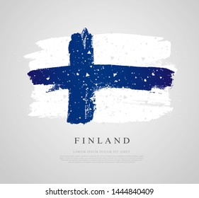 Flag of Finland. Vector illustration on a gray background. Brush strokes drawn by hand. Independence Day.