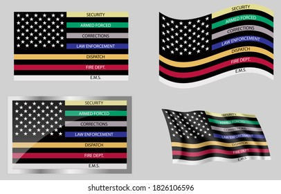 Flag of The First Responder thin line