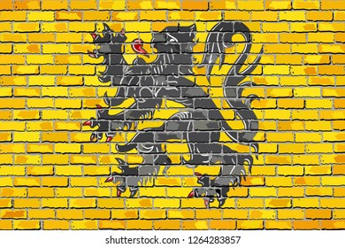 Flag of Flanders on a brick wall - Illustration,  Flag of Flanders in brick style