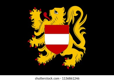 Flag of Flemish Brabant is a province of Flanders, one of the three regions of Belgium. Vector illustration