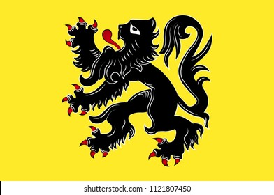 Flag of Flemish Region is one of the three official regions of the Kingdom of Belgium. Vector illustration