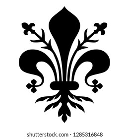 Flag of Florence. Coat of arms of Florence - Tuscany. The fleur de lis of Florence, symbol of Florence, Italy,heraldic, seal vector.