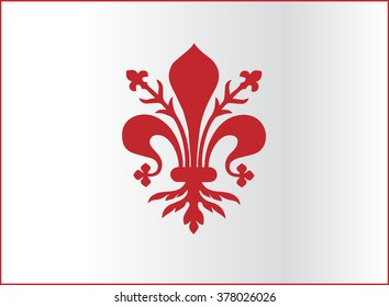 Flag of Florence vector illustration. Coat of arms of Florence - Tuscany (Italy). The fleur de lis of Florence, or France