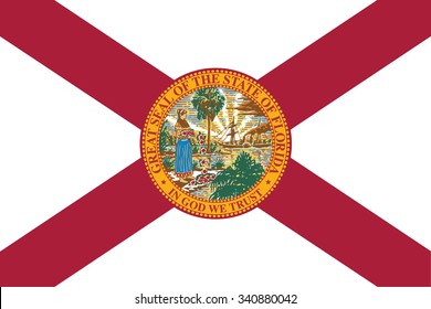 Flag of Florida state of the United States. Vector illustration.