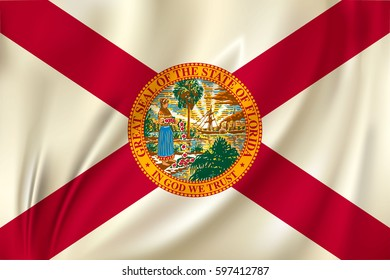 Flag of Florida state of the United States. Vector illustration. Waving in the wind on silk background