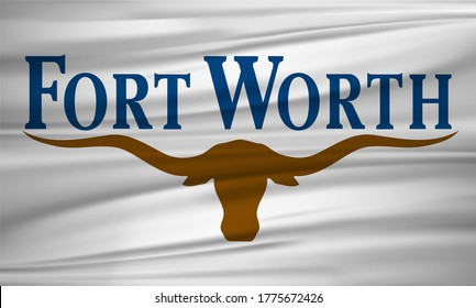 Flag of Fort Worth, Texas, USA. Realistic waving flag of Fort Worth vector background.