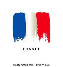 Flag of France, brush strokes painted flag, isolated on white background, vector illustration.