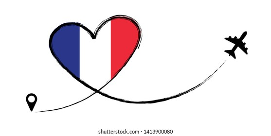 Flag France French FR FRA Love Romantic travel Airplane air plane Aircraft Aeroplane flying fly jet airline line path vector fun funny pin location pointer route trace sign track vacation holliday