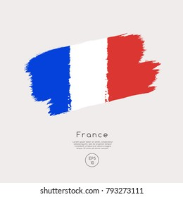 Flag of France in Grunge Brush Stroke : Vector Illustration